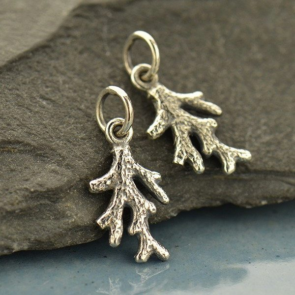 Tiny Coral Branch Charm- C1741, Sterling Silver, Nautical Charms