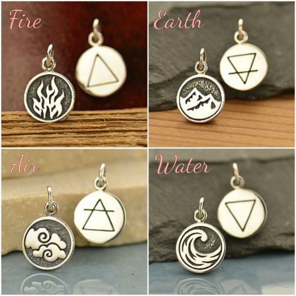 4 Elements: Fire, Water, Earth, Air Charms Sterling Silver - C17, Select Your Favorite Style